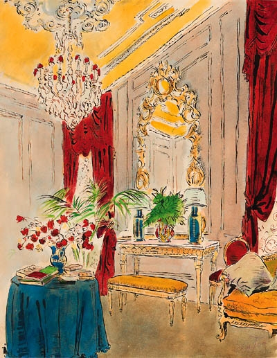 """""""The Drawing Room at Reddish House."""" No date."""