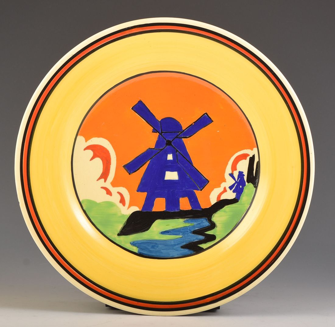 """Windmill"" plate with Applique banding.  ca. 1930."