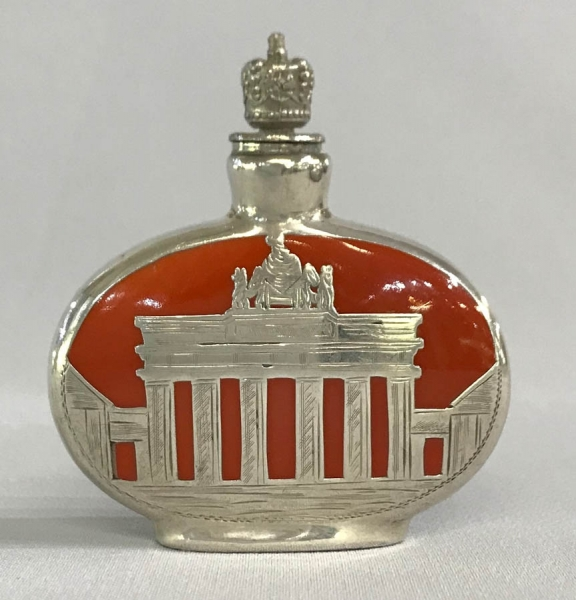 Crown perfume bottle, souvenir of the Brandenburg Gate, Berlin. ca. 1930.