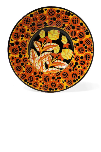 Large wall dish with shimmering multicolored floral decoration.""