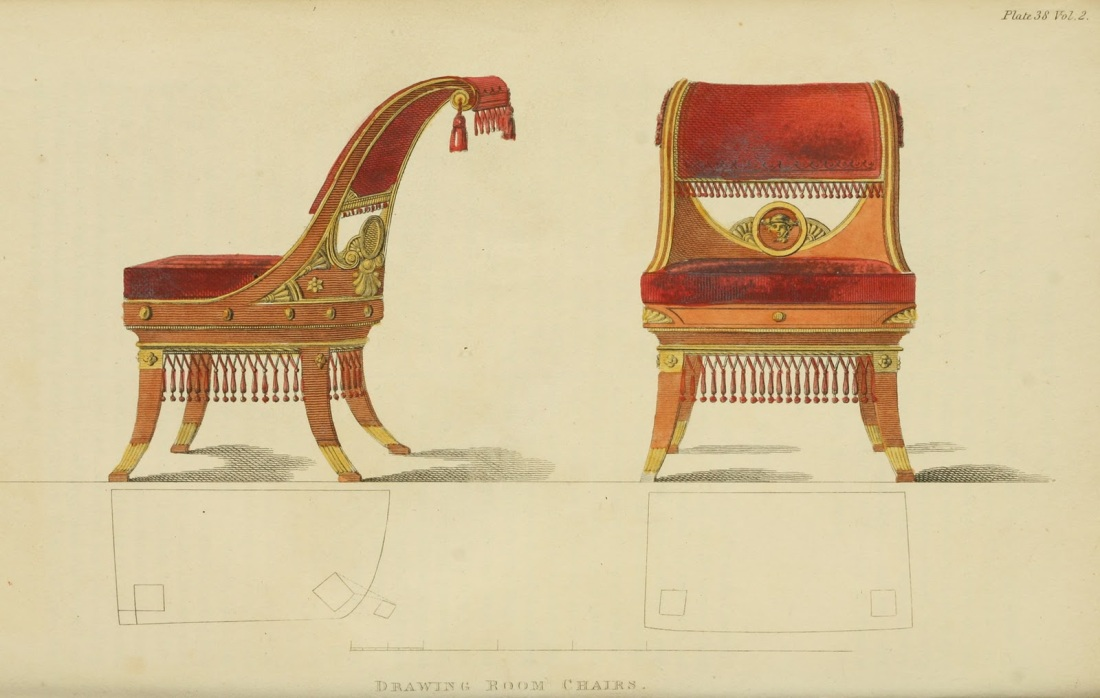 """Drawing room chairs."" Plate 38. Volume 2. 1809."