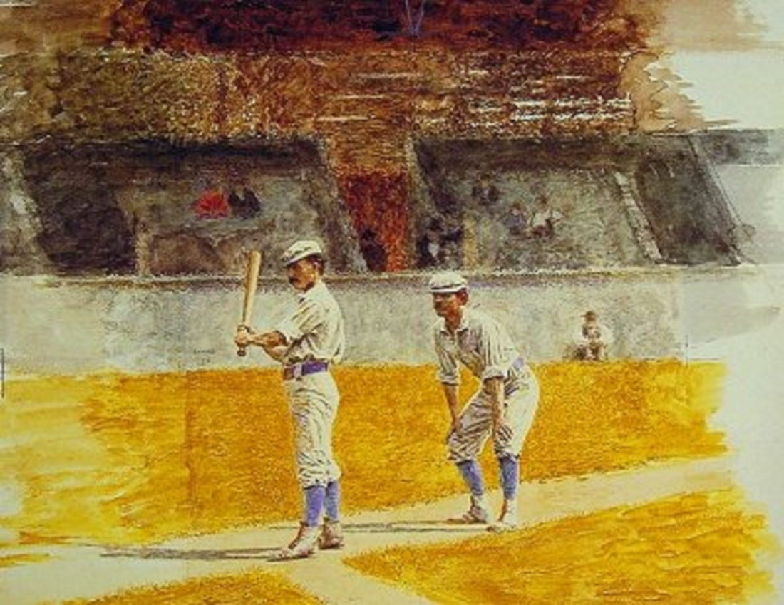 """Baseball Players Practicing."" 1875."