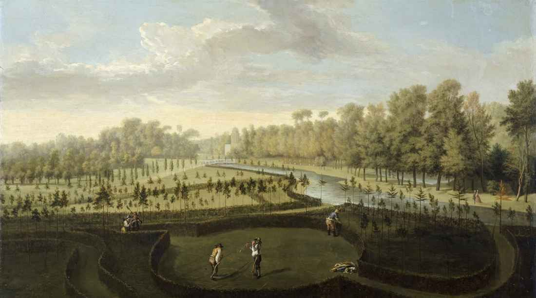 """A View Across the New Gardens Towards the Fretwork Bridge and the Bagnio."" ca. 1729-1731."