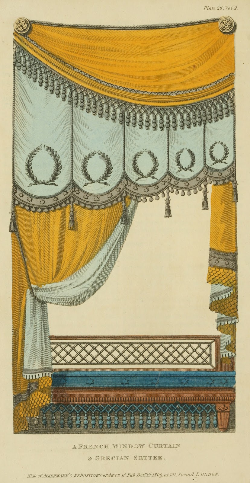 """French window curtains and Grecian Settee."" Plate 26. Volume 2. 1809."