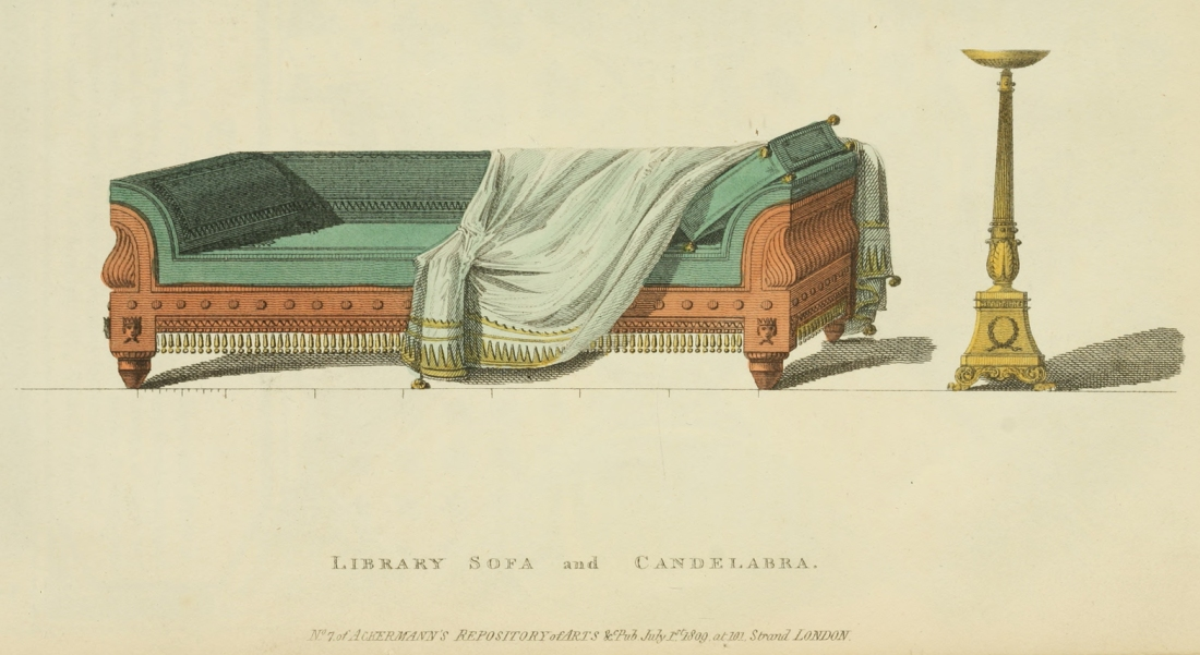 """Library sofa and candelabra."" 1809."