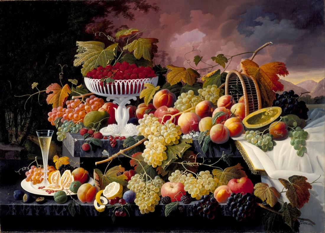 """""""Fruit Still Life in a Landscape."""" ca. 1862-1872."""