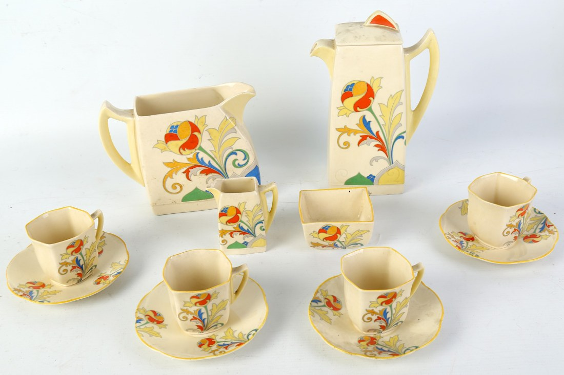 "Coffee service for four  with a large jug in the ""Cresta"" pattern. 1930's."