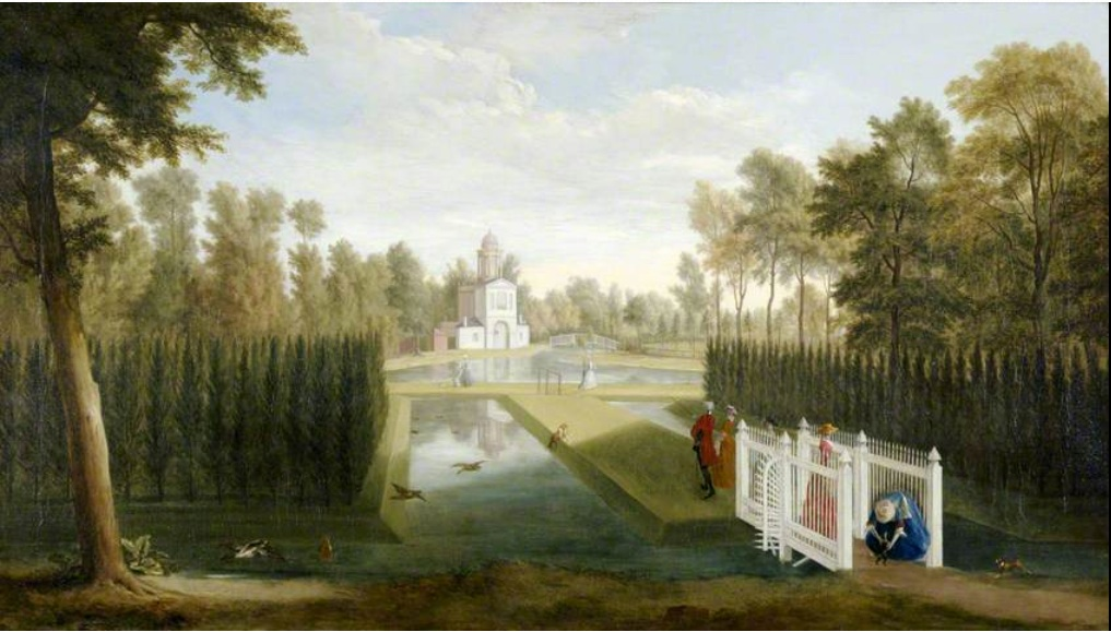 """A View of Chiswick House Gardens (towards the rear of the Bagnio from south of the upper river)."" ca. 1729-1731"