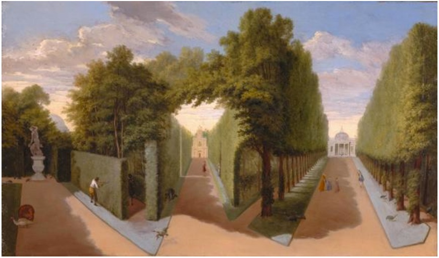 """Chiswick House Gardens- A view of the Bagnio and Grand Allees."" ca. 1729-1731."