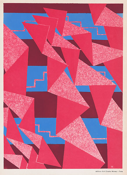 Print with red, pink and blue. 1 of 40 prints.