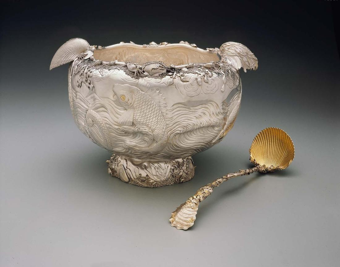 Punch bowl with ladle. 1885.
