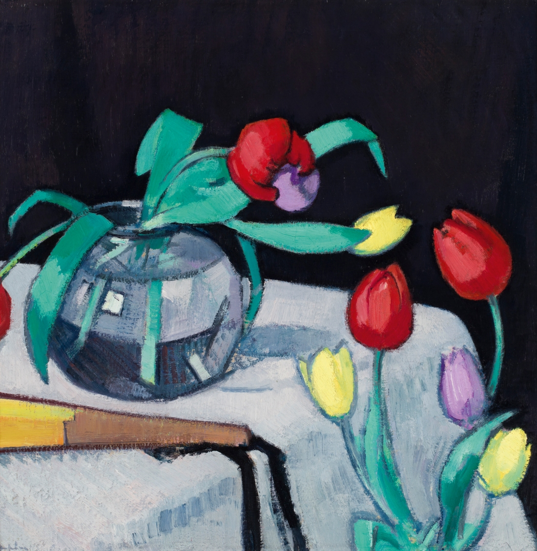 """Still life with Tulips on a Black Background. No date."