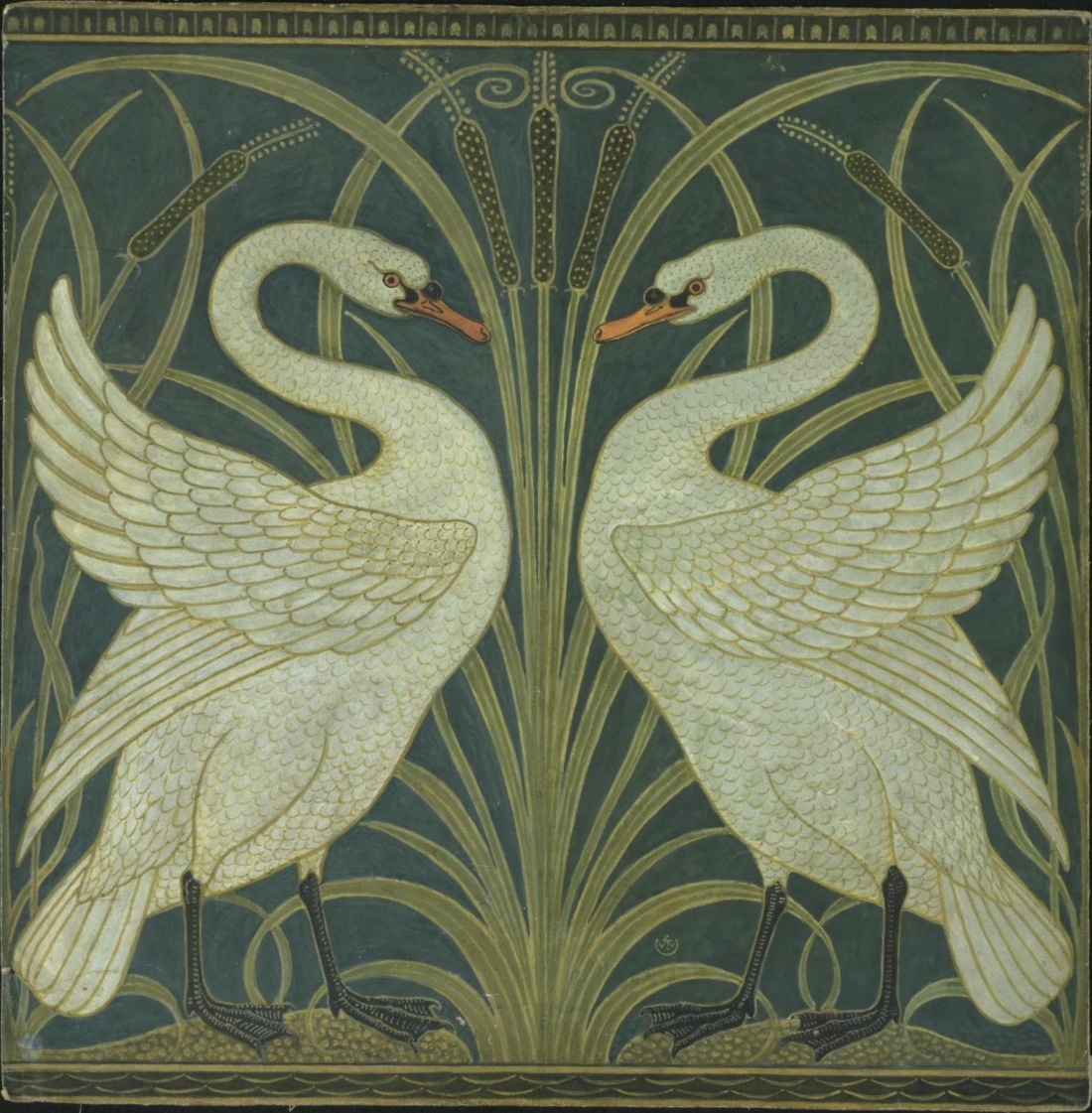 Swan and Rush and Iris wallpaper. 1875.