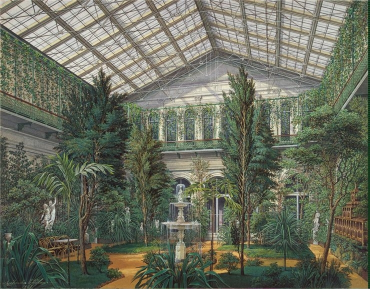 """The Winter Garden,"" "" from the series ""Interiors of the New Hermitage."" 1865."