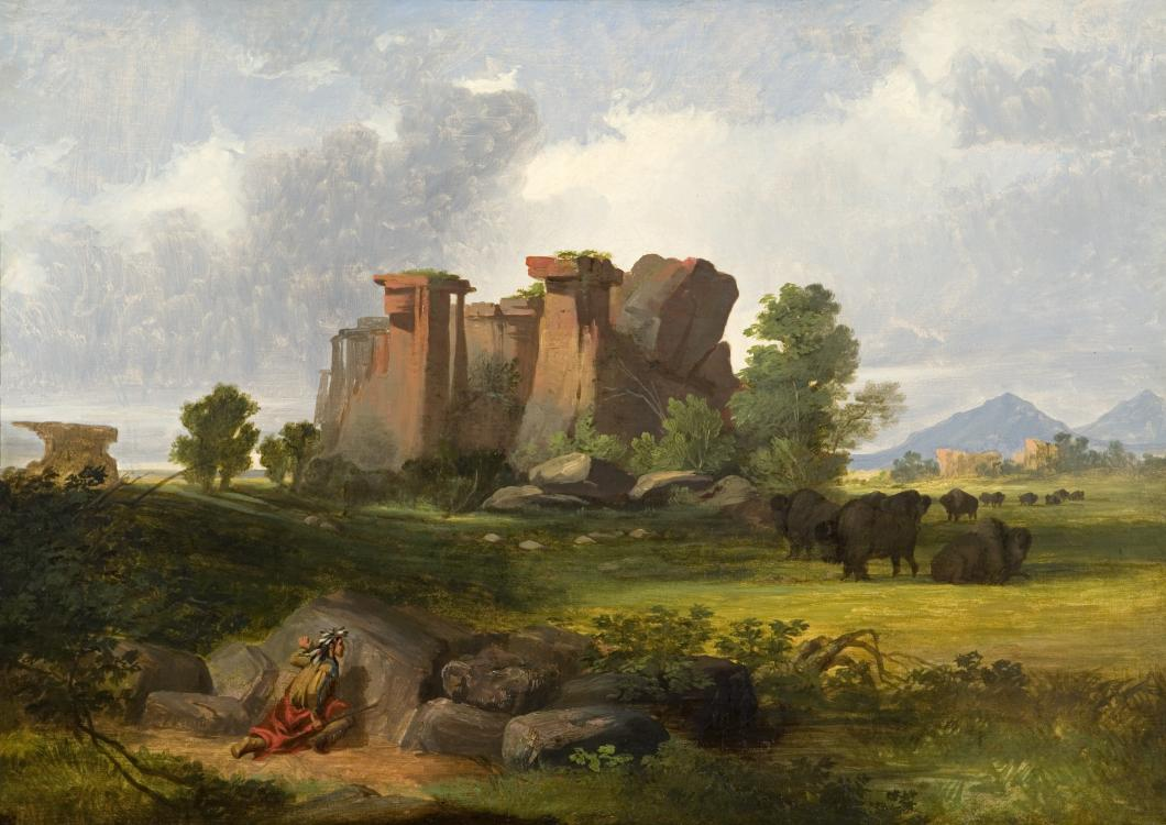 """Western Landscape with Buffalo."" 1855."