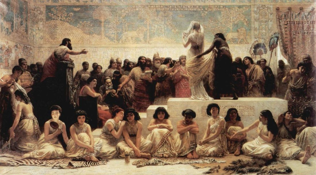"""Der Heiratsmarkt von Babylon."" (Babylonian marriage market)1875."