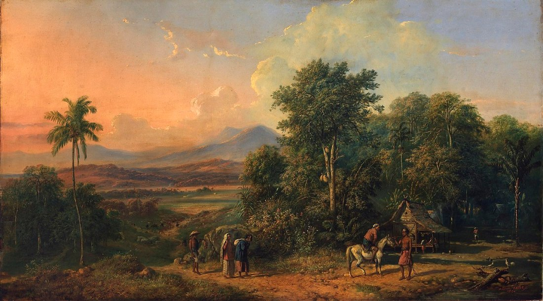 """""""Forest and Native House."""" 1860. Oil on canvas."""