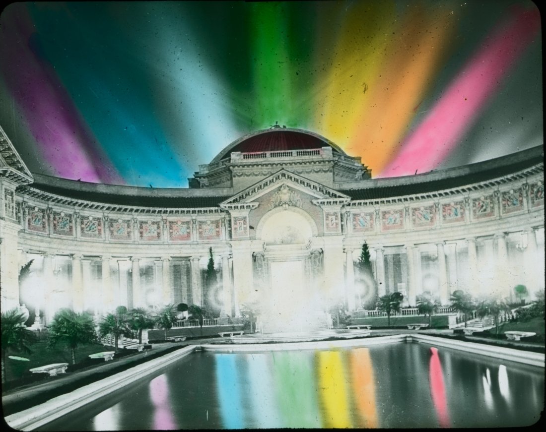 Illuminated building with reflecting pool, Panama-Pacific International Exposition