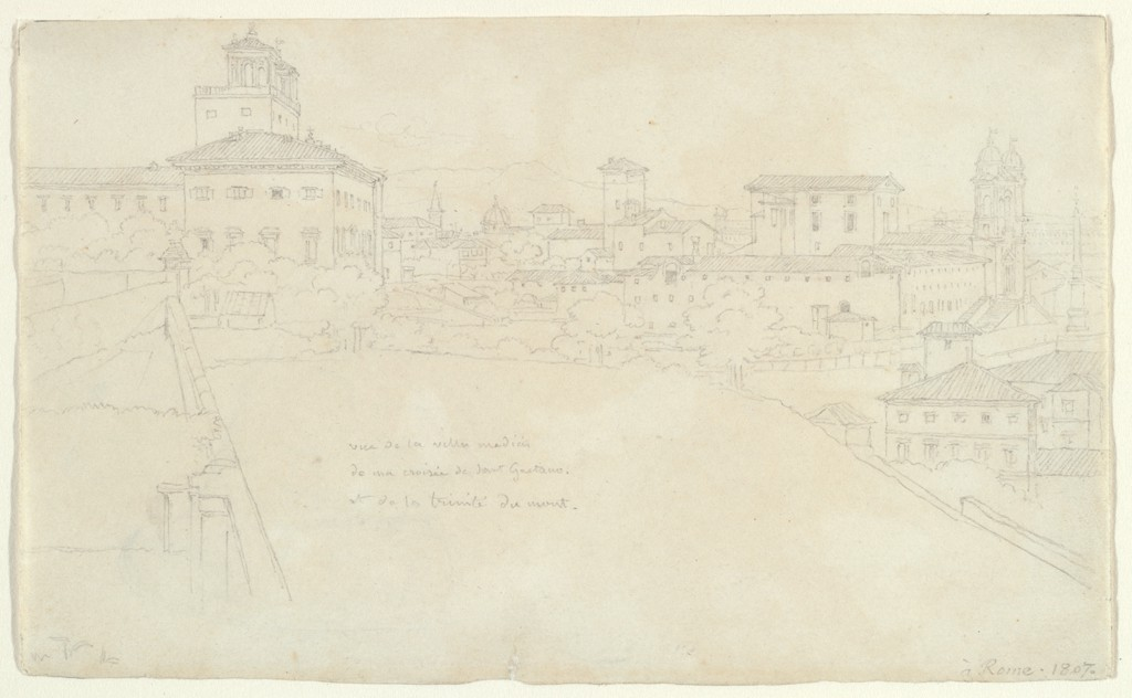 View of the Villa Medici, Rome; verso: Sketches of a basin and the capital and base of a column.