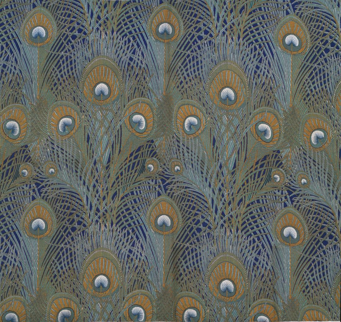 """Peacock Feathers."" 1887. Furnishing fabric."