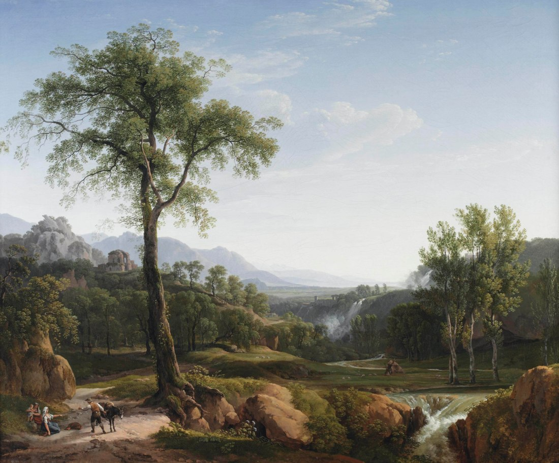 """""""An Italianate landscape with travellers resting in the shade of a tree, a view of Tivoli in the background."""" 1804."""