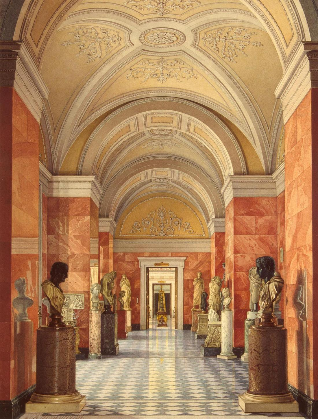 Interior of the sculpture gallery. 1854.