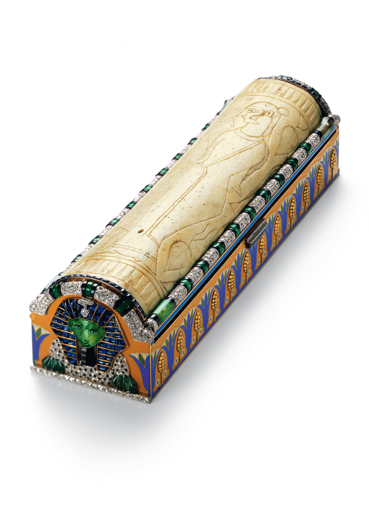 Sarcophagus form Egyptian Revival vanity case with bone lid. 1925..