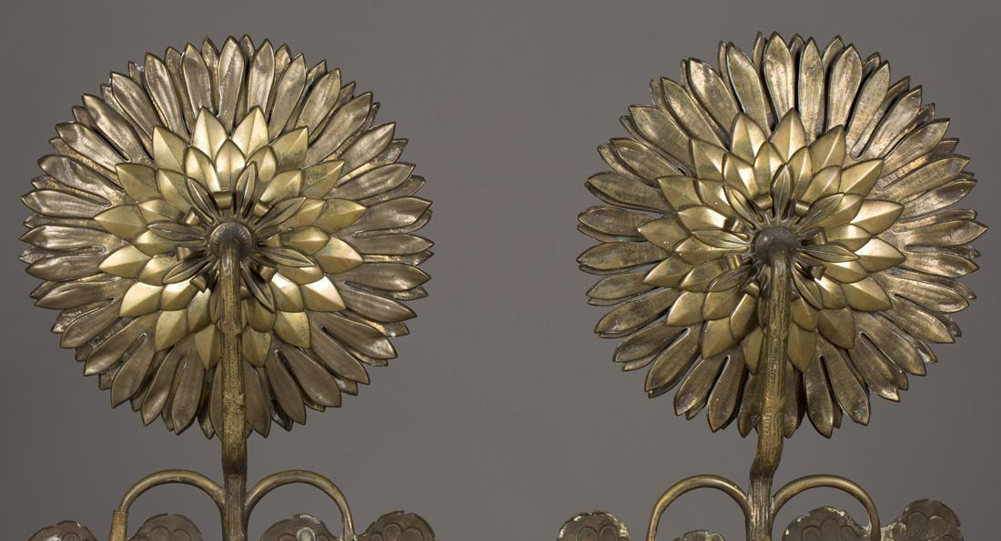 Andirons (sunflower detail). ca. 1878-1884.