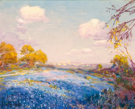 """Late Afternoon Bluebonnets-San Antonio, Texas-Fort Sam Houston in Distance."" 1914."