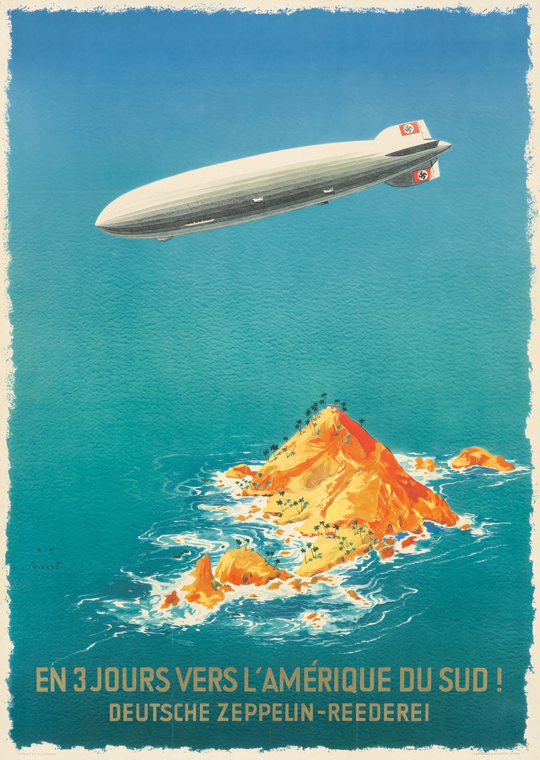 Poster advertising the Deutsche Zeppelin-Reederei which made transatlantic flights to Brazil. ca. 1936.