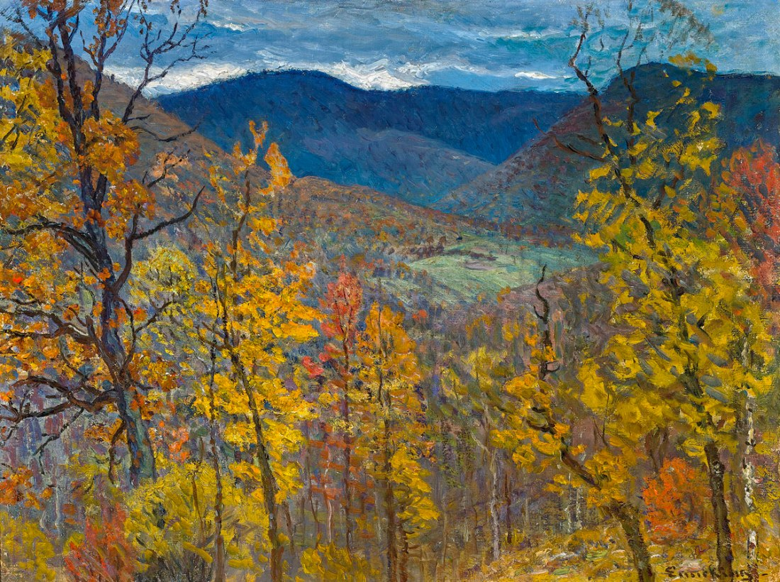Twilit Northeastern fall landscape. No date.