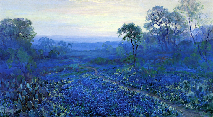 """Bluebonnet Landscape with Cacti, Road and Mountain Laurel."" No date."