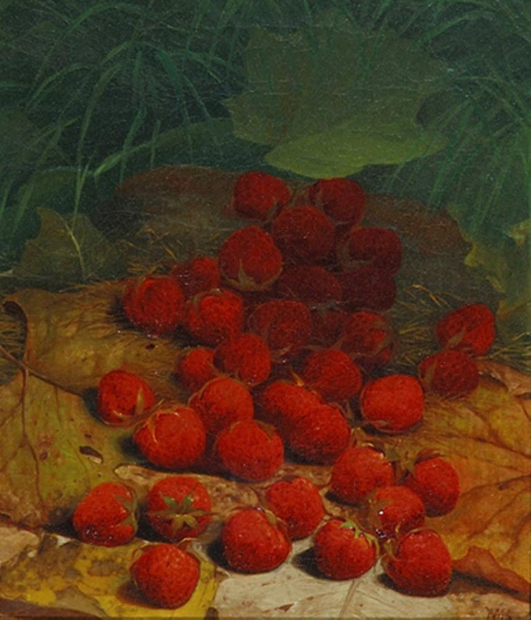 """Strawberries Strewn on a Forest Floor."" ca. 1865-1870."