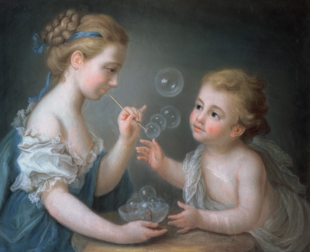 """Children Blowing Soap Bubbles."" 18th c."