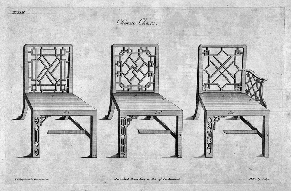 "Illustration of ""Chinese Chairs,"" from ""Chippendale Drawings"" Volume I. ca. 1753.-54."