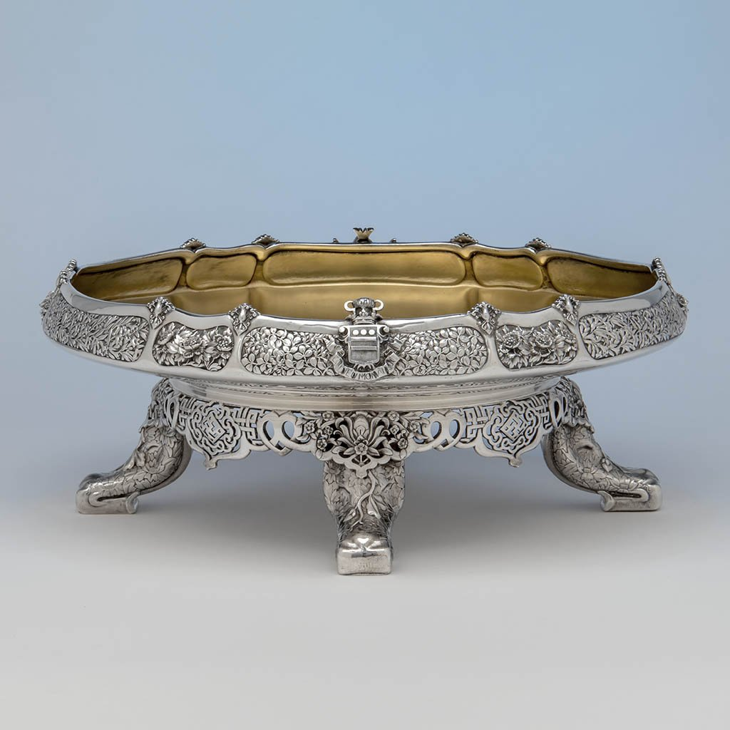 Serving dish from the MacKay dinner service with an elephant leg motif. ca. 1878.rvice. c.