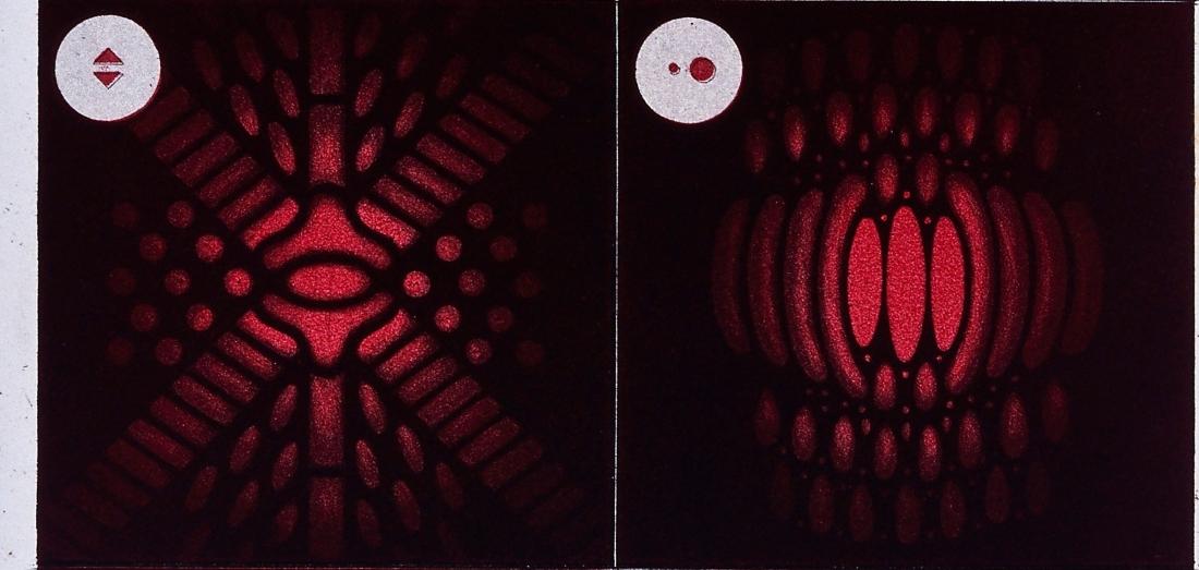 """""""Franges monochromatiques phénomènes d'interference diffractions par petit ouvertures""""  (detail)."""