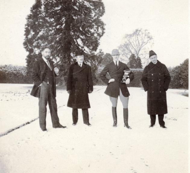 Grand Duke Michael (with camera) and friends in the snowy grounds of Knebworth House hertfordshirelife.co.uk 1913