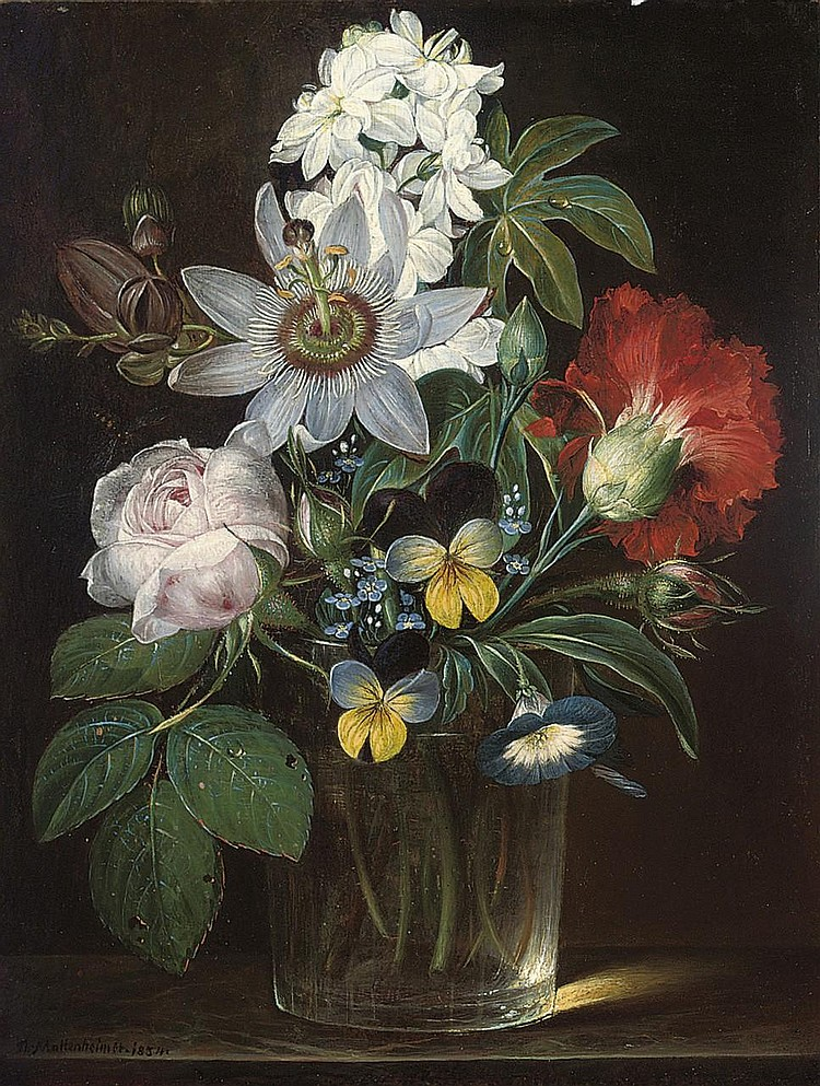 """Roses, a Carnation, Forget-Me-Nots, Violets, Morning Glory, a Passion Flower and a Delphinium in a Glass Vase."" 1854."