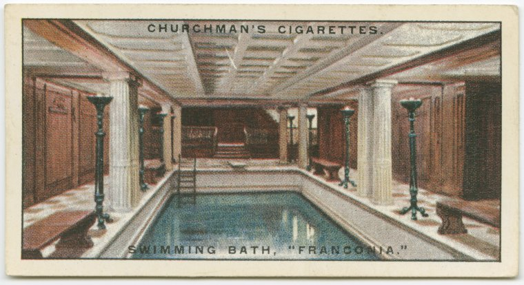 """Swimming bath, Franconia."" Churchman's Cigarettes cigarette card. Vintage."