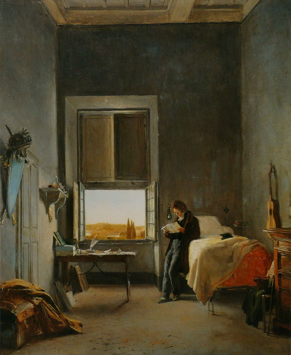 """The Artist in His Room at the Villa Medici, Rome."" 1817."