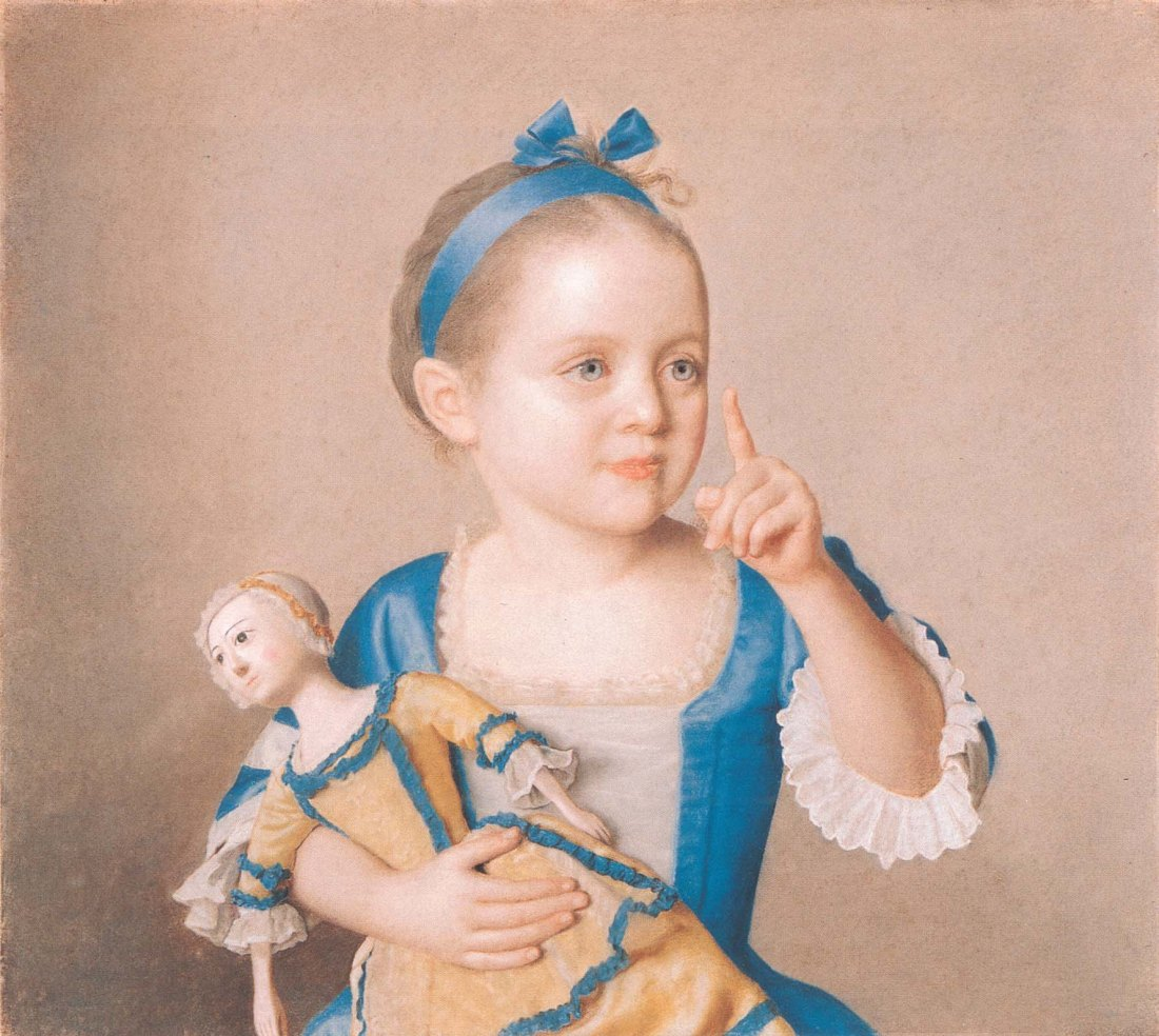 """Avec une Poupee/Marianne Liotard Holding a Doll."" 1765."