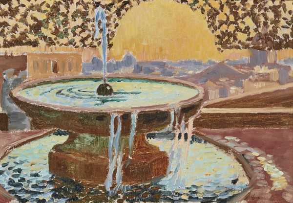 """Fountain at the Villa Medici."" 1904. Oil on layered cardboard."