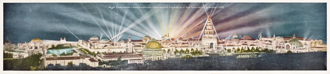 """Night Illumination - Panama-Pacific International Exposition - San Francisco, California - 1915."""