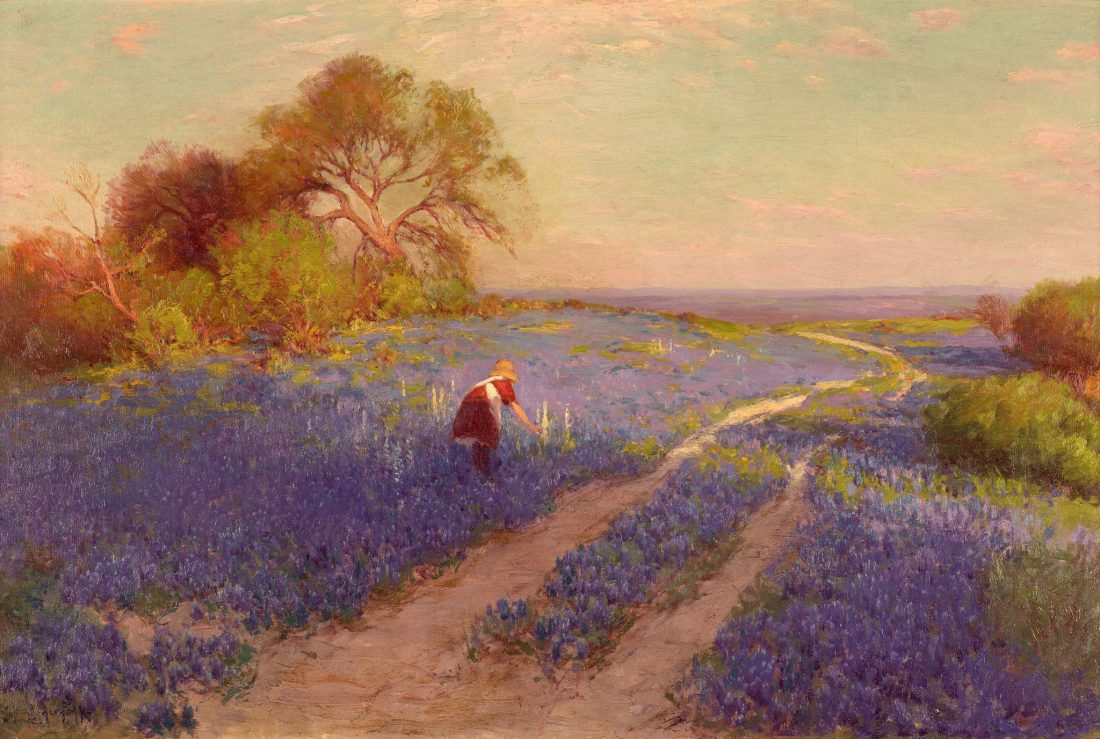 """Bluebonnet Scene with Girl."" 1920."