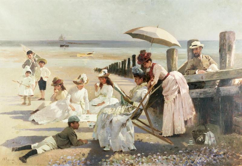 """""""On the Shores of Bognor Regis."""" 1887."""
