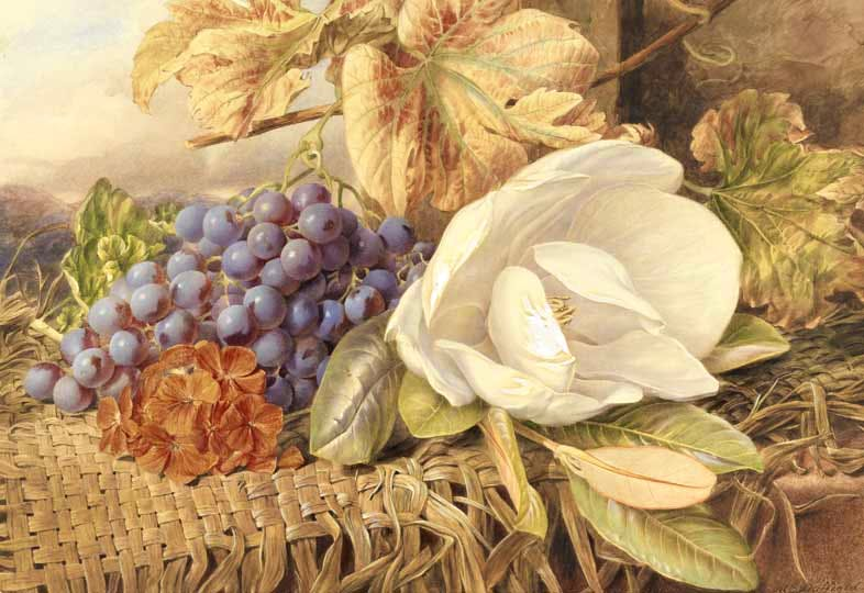 """Straw mat covered with fruit and flowers."" No date."