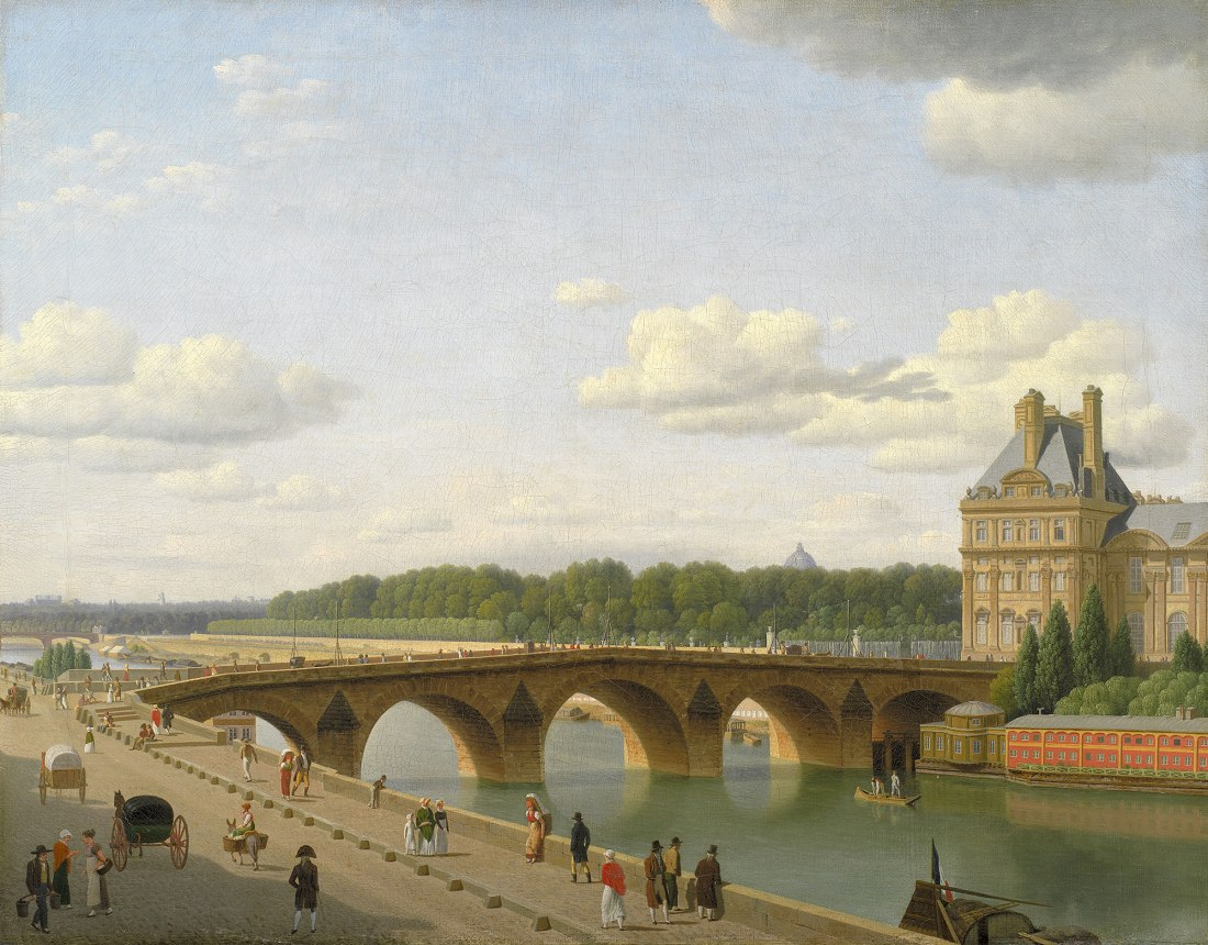 """Pont Royal seen from the Quai Voltaire."" 1812."
