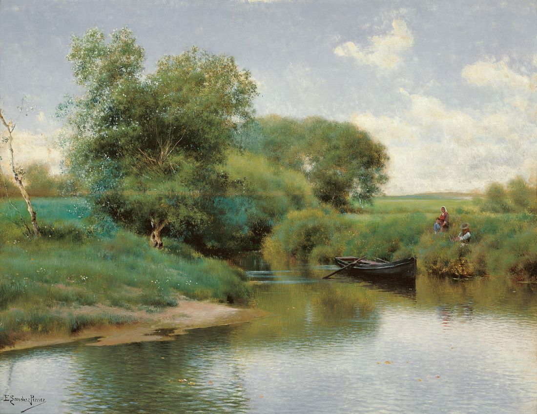 """Boating on the River."" ca. 1890."