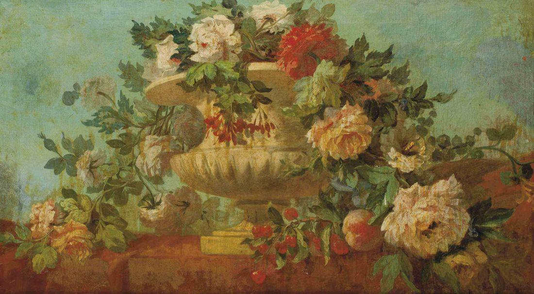 """""""Urne de fleurs sur une balustrade."""" No date."""